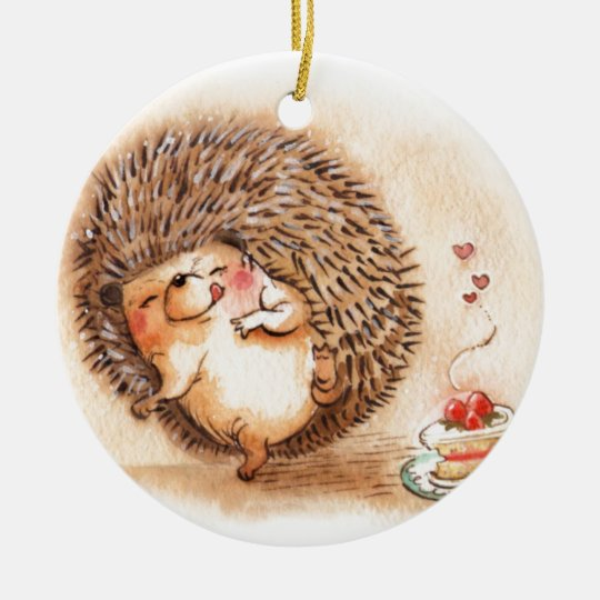 Hedgehog YUM! Round Ceramic Ornament