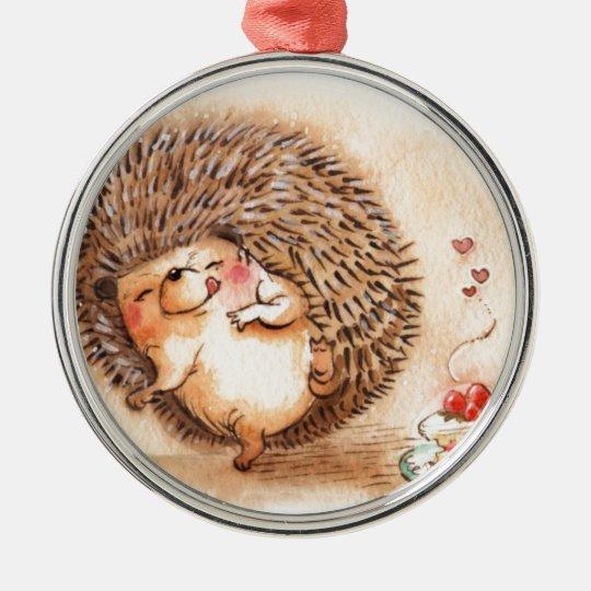 Hedgehog YUM! Silver-Colored Round Ornament