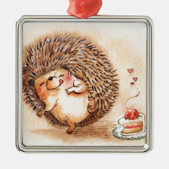 Hedgehog YUM! Silver-Colored Square Ornament