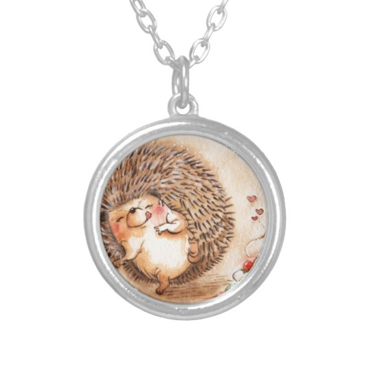 Hedgehog YUM! Silver Plated Necklace