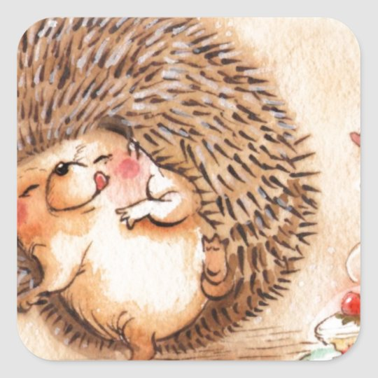 Hedgehog YUM! Square Sticker