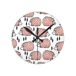 Hedgehogs Hedgehog Pink And White / Andrea Lauren Clocks