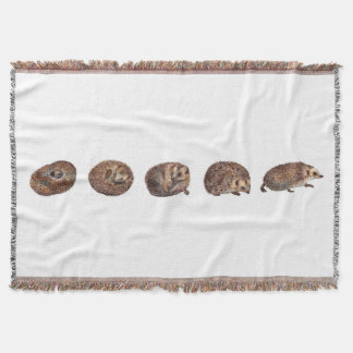 Hedgehogs in a line throw blanket