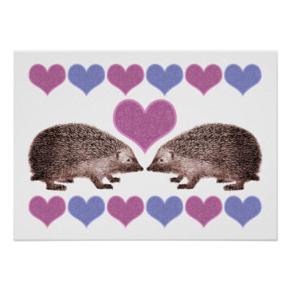 Hedgehogs in Love Folk Art Style Hearts Poster