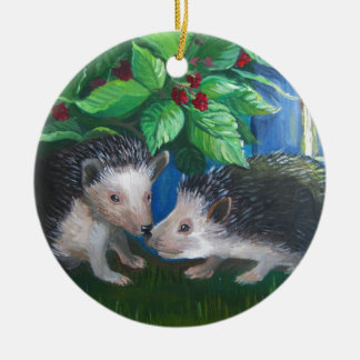 Hedgehogs in love oil painting ceramic ornament