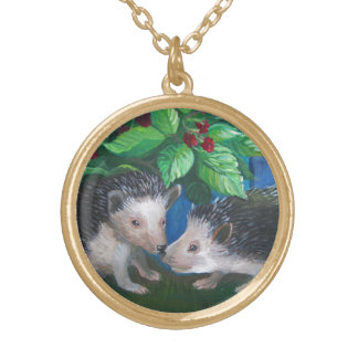 Hedgehogs in love oil painting gold plated necklace