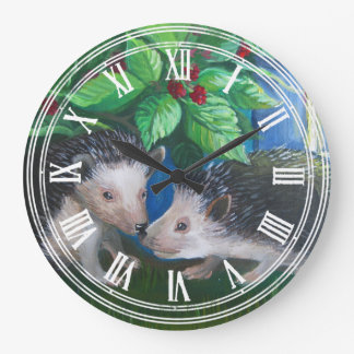 Hedgehogs in love oil painting large clock