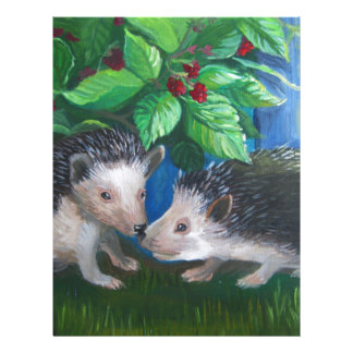 Hedgehogs in love oil painting letterhead