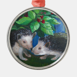 Hedgehogs in love oil painting metal ornament