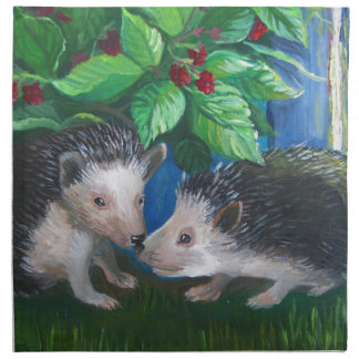 Hedgehogs in love oil painting napkin