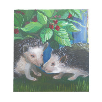 Hedgehogs in love oil painting notepad