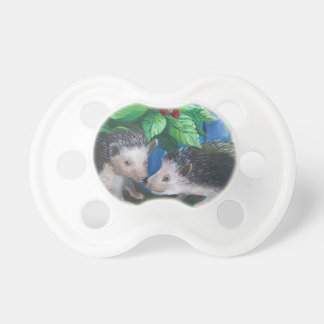 Hedgehogs in love oil painting pacifier