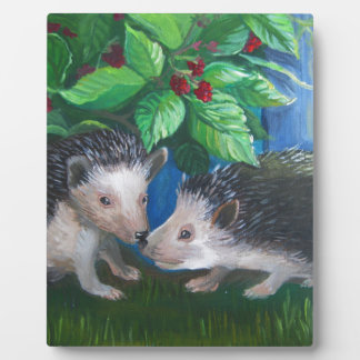 Hedgehogs in love oil painting plaque