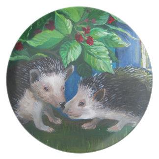 Hedgehogs in love oil painting plate