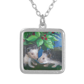 Hedgehogs in love oil painting silver plated necklace