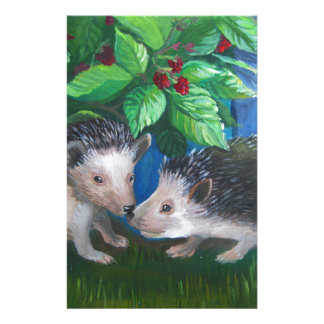 Hedgehogs in love oil painting stationery