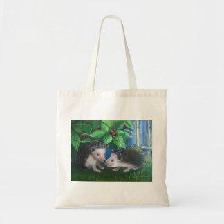 Hedgehogs in love oil painting tote bag