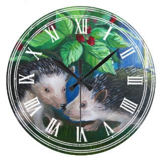 Hedgehogs in love oil painting wallclock