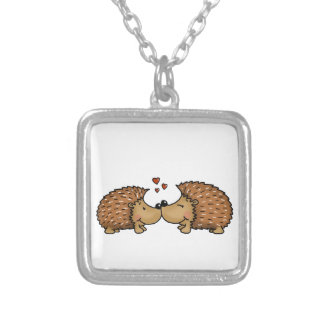 Hedgehogs in Love Silver Plated Necklace