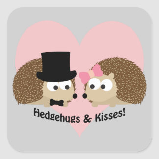 Hedgehugs and Kisses Hedgehog Couple Square Sticker