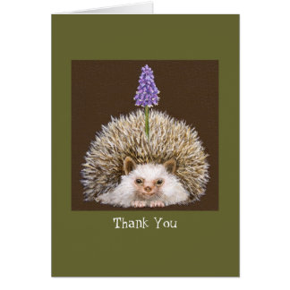 hedghog with grape hyacinth Thank you notecard