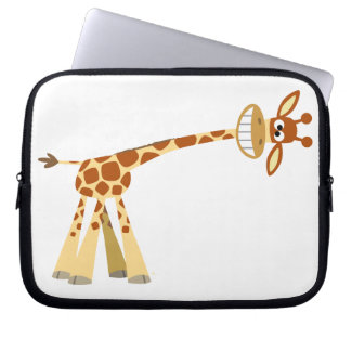Hee Hee Hee!! cartoon giraffe Laptop Sleeve