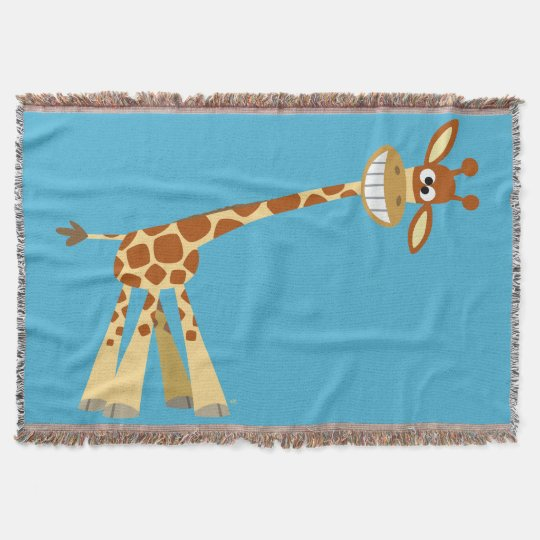 Hee Hee Hee!! Cute Silly Cartoon Giraffe Throw Blanket