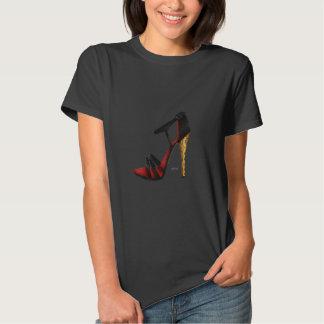 Heeled Evening Sandal Black Cotton T-Shirt