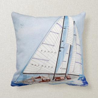 heeling sailboat watercolor throw pillow