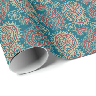Heffalumps Red Blue Beige Paisley Wrapping Paper