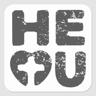 HeHeartU - God / HE Loves You Square Sticker