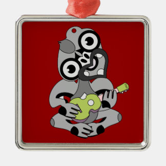 Hei Tiki playing ukelele Silver-Colored Square Ornament