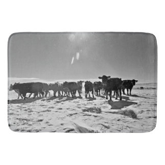 Heifers in the Snow Bath Mat Western Cattle