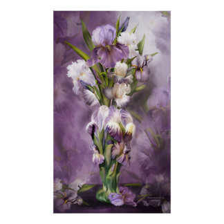 Heirloom Iris In Iris Vase Art Poster/Print Poster