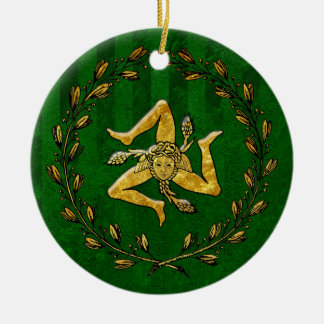 Heirloom Sicilian Trinacria Gold Green Stripe Ceramic Ornament