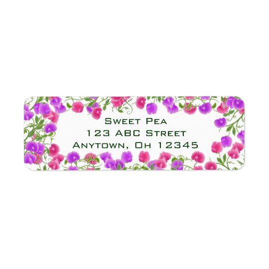 Heirloom Sweet Pea Flowers Label Return Address Label