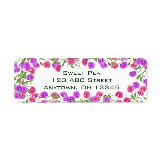 Heirloom Sweet Pea Flowers Label Return Address Label