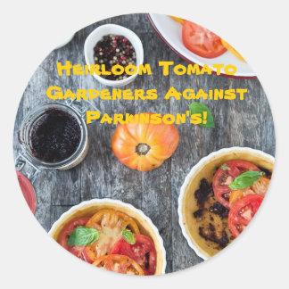 Heirloom Tomato Gardeners Against Parkinsons! Classic Round Sticker