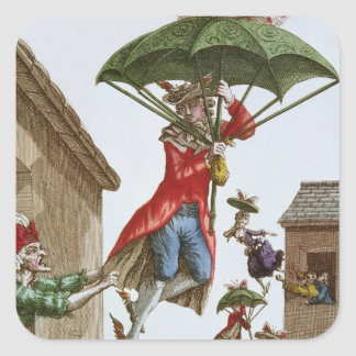 Held Aloft by Umbrellas and Butterflies Square Sticker