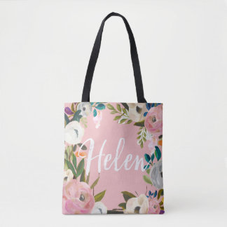 Helen Custom Brushed Floral Wedding Party Pink Tote Bag
