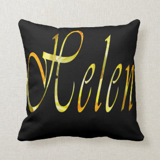 Helen, Girls Name Logo, Black Throw Cushion. Throw Pillow