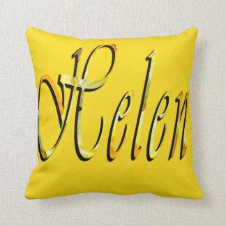 Helen, Girls Name Logo, Yellow Throw Cushion. Throw Pillow
