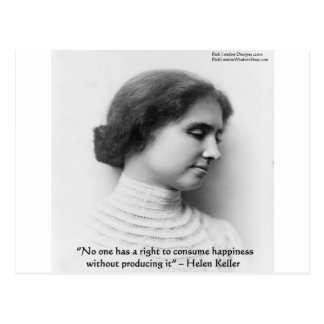 """Helen Keller """"Right 2 Happiness"""" Wisdom Quote Gift Postcard"""