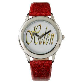 Helen, Name, Logo, Girls Red Glitter Watch