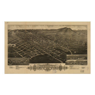 Helena Montana 1883 Antique Panoramic Map Poster