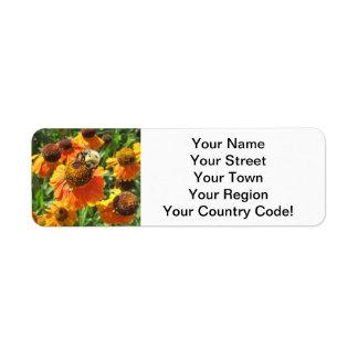Helenium Bee Orange Flower Return Address Label