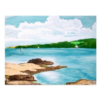 Helford River, Cornwall Sailing Painting Postcard