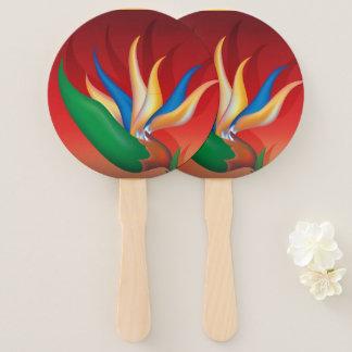 Heliconia Flower Hand Fan