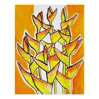 Heliconia Rostrata, Lobster Claw, tropical flowers Poster