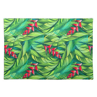 Heliconia tropical floral placemat
